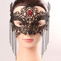 Gothic Augenmaske, Spitze, mit Nylonschnur & Kristall & Zinklegierung, metallschwarz plattiert, für Frau & facettierte, frei von Nickel, Blei & Kadmium, 200mm, verkauft von PC