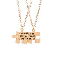 Ehepaar Halskette, Zinklegierung, goldfarben plattiert, Oval-Kette & mit Brief Muster & für paar & Emaille, frei von Blei & Kadmium, 14x21mm, Länge:ca. 15.5 ZollInch, verkauft von Paar