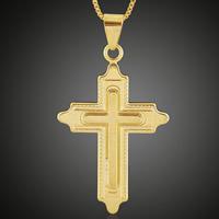 Messing Kreuz Anhänger, 18 K vergoldet, frei von Blei & Kadmium, 29x52mm, Bohrung:ca. 3-5mm, 6PCs/Tasche, verkauft von Tasche