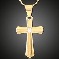 Messing Kreuz Anhänger, 18 K vergoldet, mit Strass, frei von Blei & Kadmium, 21x37mm, Bohrung:ca. 3-5mm, 6PCs/Tasche, verkauft von Tasche