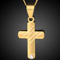 Messing Kreuz Anhänger, 18 K vergoldet, mit Strass, frei von Blei & Kadmium, 36x44mm, Bohrung:ca. 3-5mm, 6PCs/Tasche, verkauft von Tasche