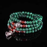 108 Mala Perlen, Malachit, mit Roter Achat & Zinklegierung, synthetisch, buddhistischer Schmuck & für Frau & 4-Strang, 6mm, 108PCs/Strang, verkauft per ca. 28 ZollInch Strang