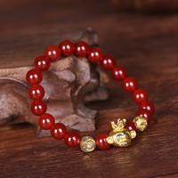 Roter Achat Armbänder, mit Zinklegierung, Affe, synthetisch, für Frau, 8mm, verkauft per ca. 7 ZollInch Strang
