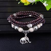 Granat Armband, mit weiße Jade & Zinklegierung, Elephant, synthetisch, Januar Birthstone & für Frau & 4-Strang, 4mm, verkauft per ca. 37.5 ZollInch Strang