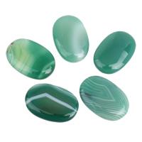 Streifen Achat Cabochon, flachoval, flache Rückseite, grün, 19x30x5mm-20x30x6mm, 5PCs/Tasche, verkauft von Tasche