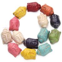 Buddhistische Perlen, Synthetische Türkis, Schädel, buddhistischer Schmuck, gemischte Farben, 20x28mm, Bohrung:ca. 1.5mm, ca. 14PCs/Strang, verkauft per ca. 15.5 ZollInch Strang