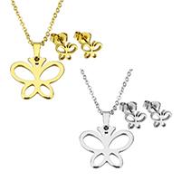 Edelstahl Schmucksets, Ohrring & Halskette, Schmetterling, plattiert, Oval-Kette & für Frau, keine, 19x17x1.5mm, 1.5x2x0.5mm, 7.5x6.5x11.5mm, Länge:ca. 17.8 ZollInch, verkauft von setzen