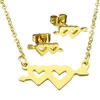 Edelstahl Schmucksets, Ohrring & Halskette, Herz, goldfarben plattiert, Oval-Kette & für Frau, 22.5x11x1.5mm, 1.5x2x0.5mm, 13x5x12.5mm, Länge:ca. 17.8 ZollInch, verkauft von setzen