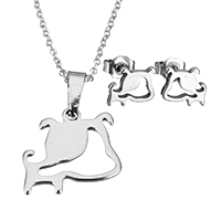 Edelstahl Schmucksets, Ohrring & Halskette, Hund, Oval-Kette & für Frau, originale Farbe, 19x18.5x1.5mm, 1.5x2x0.5mm, 9x7.5x11.5mm, Länge:ca. 17.8 ZollInch, verkauft von setzen