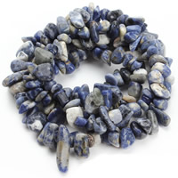 Blauer Tupfen Stein Perlen, blauer Punkt, Klumpen, 8-12mm, Bohrung:ca. 1.5mm, ca. 76PCs/Strang, verkauft per ca. 31 ZollInch Strang
