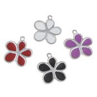 Edelstahl -Blumen-Anhänger, Emaille, keine, 17x19x1mm, Bohrung:ca. 1mm, verkauft von PC