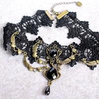 Gothic Halskette, Baumwolle, mit Zinklegierung & Acryl, antike Bronzefarbe plattiert, facettierte, 33cm, verkauft per ca. 13 ZollInch Strang