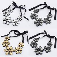 Kragen Halskette, Kristall, mit Satinband, Blume, facettierte, mehrere Farben vorhanden, 40cm, verkauft per ca. 15.5 ZollInch Strang