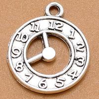 Zinklegierung Uhr Anhänger, Wecker, antik silberfarben plattiert, frei von Blei & Kadmium, 21x18mm, Bohrung:ca. 1.5mm, 100PCs/Tasche, verkauft von Tasche