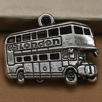 Fahrzeug Zinklegierung Anhänger, Bus, antik silberfarben plattiert, mit Brief Muster, frei von Blei & Kadmium, 19x25mm, Bohrung:ca. 1.5mm, 100PCs/Tasche, verkauft von Tasche