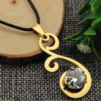 Messing Halskette, mit PU Leder, 24 K vergoldet, für Frau & mit kubischem Zirkonia & Falten, frei von Nickel, Blei & Kadmium, 18x40mm, verkauft per ca. 16.9 ZollInch Strang
