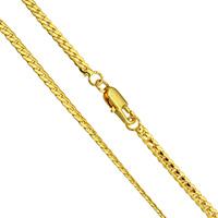 Messingkette Halskette, Messing, 24 K vergoldet, Kandare Kette & für den Menschen, frei von Nickel, Blei & Kadmium, 3x1mm, verkauft per ca. 17.5 ZollInch Strang