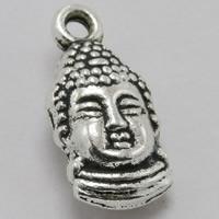 Buddhische Schmuck Anhänger, Zinklegierung, Buddha, antik silberfarben plattiert, buddhistischer Schmuck, frei von Blei & Kadmium, 15x8mm, Bohrung:ca. 1.5mm, 100PCs/Tasche, verkauft von Tasche