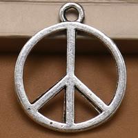 Zinklegierung Frieden Anhänger, Frieden Logo, antik silberfarben plattiert, frei von Blei & Kadmium, 22x26mm, Bohrung:ca. 1.5mm, 100PCs/Tasche, verkauft von Tasche