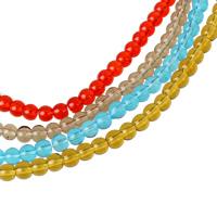 Runde Kristallperlen, Kristall, mehrere Farben vorhanden, 4mm, Bohrung:ca. 1mm, Länge:ca. 11 ZollInch, 10SträngeStrang/Tasche, ca. 80PCs/Strang, verkauft von Tasche