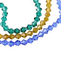 Doppelkegel Kristallperlen, Kristall, facettierte, mehrere Farben vorhanden, 8x8mm, Bohrung:ca. 1mm, Länge:ca. 11.5 ZollInch, 10SträngeStrang/Tasche, ca. 41PCs/Strang, verkauft von Tasche