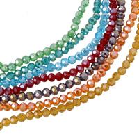 Runde Kristallperlen, Kristall, facettierte, mehrere Farben vorhanden, 4mm, Bohrung:ca. 1mm, Länge:ca. 14.5 ZollInch, 10SträngeStrang/Tasche, ca. 100PCs/Strang, verkauft von Tasche