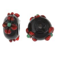 Holprige Lampwork Perlen, handgemacht, uneben, 9x14mm, Bohrung:ca. 2mm, verkauft von PC