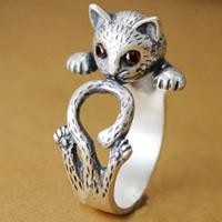 Messing Fingerring, Katze, antik silberfarben plattiert, Tier Design & mit Strass, frei von Nickel, Blei & Kadmium, 6-8mm, Größe:6-8, verkauft von PC