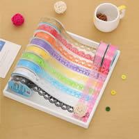 Dekorative Band, Kunststoff, gemischte Farben, 18mm, 12PCs/Tasche, verkauft von Tasche