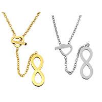 Edelstahl Schmuck Halskette, Unendliche, plattiert, Oval-Kette & für Frau, keine, 7.5x11x1mm, 7x20x1.5mm, 1.5x2x0.3mm, verkauft per ca. 17.5 ZollInch Strang