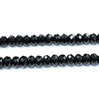 Natürliche schwarze Achat Perlen, Schwarzer Achat, Rondell, verschiedene Größen vorhanden & facettierte, Bohrung:ca. 0.5-2mm, Länge:ca. 15.5 ZollInch, verkauft von Menge