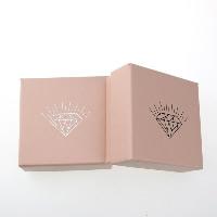 Karton Schmuckset Kasten, Fingerring & Ohrring & Halskette, mit Schwamm, Quadrat, Silberdruck, Rosa, 73x73x35mm, 100PCs/Menge, verkauft von Menge