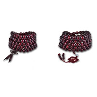 108 Mala Perlen, Sandelholz, mit Nylon, natürlich, buddhistischer Schmuck & verschiedene Größen vorhanden & verschiedene Stile für Wahl & 5-litzig, 108PCs/Strang, verkauft von Strang