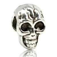 Zink Legierung Europa Perlen, Zinklegierung, Schädel, antik silberfarben plattiert, ohne troll, frei von Blei & Kadmium, 8x12mm, Bohrung:ca. 4-4.5mm, verkauft von PC