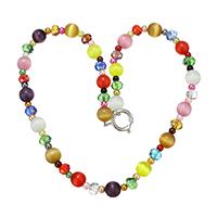 Katzenaugen Halskette, Katzenauge, mit Kristall & Glasperlen & Messing, Platinfarbe platiniert, für Frau & facettierte, 9x9.5x9.5mm, 6x8x8mm, 3.5x4x4mm, Länge:ca. 18 ZollInch, 5SträngeStrang/Menge, verkauft von Menge