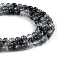 Natürliche graue Quarz Perlen, Grauer Quarz, rund, verschiedene Größen vorhanden, Bohrung:ca. 1mm, verkauft per ca. 15.5 ZollInch Strang