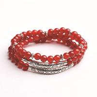 Roter Achat Armbänder, mit Zinklegierung, antik silberfarben plattiert, natürliche & für Frau & 3-Strang, frei von Blei & Kadmium, 5mm, verkauft per ca. 18 ZollInch Strang