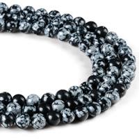 Schneeflocke Obsidian, rund, verschiedene Größen vorhanden, Bohrung:ca. 1mm, verkauft per ca. 15 ZollInch Strang
