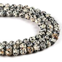 Dalmatinische Perlen, Dalmatiner, rund, verschiedene Größen vorhanden, Bohrung:ca. 1mm, verkauft per ca. 15 ZollInch Strang