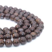 Bronzit Stein Perlen, rund, verschiedene Größen vorhanden, Bohrung:ca. 1mm, verkauft per ca. 15 ZollInch Strang