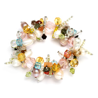 Kristall Armbänder, Natürliche kultivierte Süßwasserperlen, mit Kristall & Glas-Rocailles & Messing, Platinfarbe platiniert, natürliche & facettierte, 3x3mm-11x12mm, verkauft per ca. 6 ZollInch Strang
