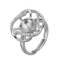 925 Sterling Silber Ringfassung, Blume, Micro pave Zirkonia, 18x18x5mm, 0.6mm, Innendurchmesser:ca. 16mm, Größe:5.5, 3PCs/Menge, verkauft von Menge