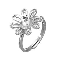 925 Sterling Silber Ringfassung, Blume, Micro pave Zirkonia, 16.5x16x5mm, 0.8mm, Größe:6.5, 5PCs/Menge, verkauft von Menge