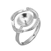 925 Sterling Silber Ringfassung, Blume, Micro pave Zirkonia, 17x17x4mm, 0.8mm, Größe:6.5, 3PCs/Menge, verkauft von Menge