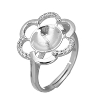 925 Sterling Silber Ringfassung, Blume, Micro pave Zirkonia, 15x16x5mm, 0.8mm, Größe:6, 5PCs/Menge, verkauft von Menge