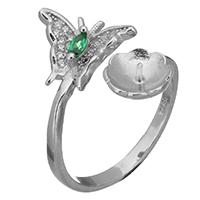 925 Sterling Silber Ringfassung, Schmetterling, offen & Micro pave Zirkonia, 18.5mm, 0.7mm, Größe:7, 5PCs/Menge, verkauft von Menge