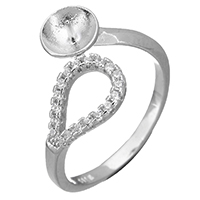 925 Sterling Silber Ringfassung, Micro pave Zirkonia, 12mm, 0.9mm, Größe:5, 5PCs/Menge, verkauft von Menge