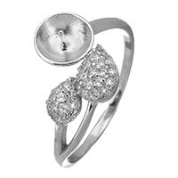 925 Sterling Silber Ringfassung, Tropfen, Micro pave Zirkonia, 11mm, 0.6mm, Größe:6, 5PCs/Menge, verkauft von Menge