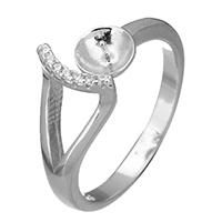 925 Sterling Silber Ringfassung, offen & Micro pave Zirkonia, 8mm, 5.5x4mm, 0.7mm, Größe:5.5, 5PCs/Menge, verkauft von Menge