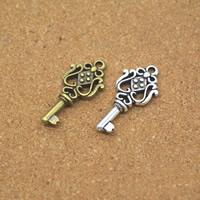Zinklegierung Schlüssel Anhänger, plattiert, keine, frei von Nickel, Blei & Kadmium, 12x26x4mm, Bohrung:ca. 1.5mm, 100PCs/Menge, verkauft von Menge